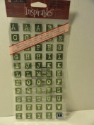 110 Green Brush Alphabet Stickers - You Get 2 Sheets of 55 Letters