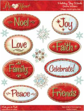 Paper Adventures Dome Epoxy Stickers: Holiday Joy Words