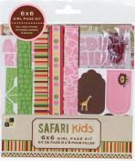 DCWV CP-012-00066 Girl 6X6 Page Kit Safari Kids