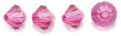 Preciosa 4-Mm Czech Crystal Diamond/Bicone Bead, Fuchsia, 144-Piece