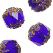 Czech Cathedral Glass Beads 8mm Cobalt Blue with Gold Ends