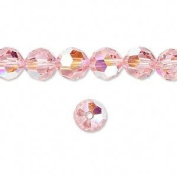 . Crystal 5000 8mm Light Rose AB (Pink) Faceted Round Beads - 12 Pack