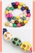 1 Strand Multicolor Carved Skull Turquoise Loose Beads 11x12mm D0388