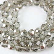 Crystal Glass Beads 4mm Round Faceted, Grey Colour