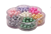 Jewellery Making Colour Glass Pearl Pearlescent Beads Box Set A, 8mm Round, 168 Pcs