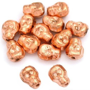 15g Skull Beads Copper Plated Skeleton 8.5mm Approx 14