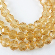 Crystal Glass Beads 4mm Round Faceted, Citrine Colour