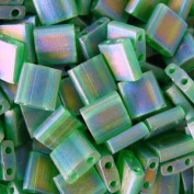 Miyuki 5mm Tila 2 Hole Square Beads TRANS GREEN Crystal Beads 7.2Gr No 146