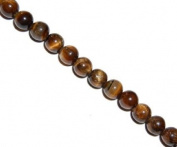 Brown tiger eye round beads, 8mm, sold per 16-inch strand.