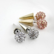 Fashionable Latest Full Pink Clear Colour Rhinestones Spike Ball Gold Silver Alloy Stud Earrings