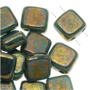 Czech Glass 2-Hole Square Beads 6mm 'Bronze Picasso / Turquoise'