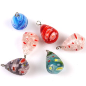 20pcs Mixed Colour Teardrop Flower Charms Glass Loose Beads Fit Handmade