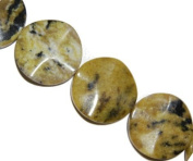 Yellow natural turquoise wavy coin gemstone beads, 30x30mm, sold per 16-inch strand.