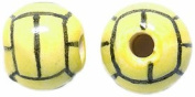 Shipwreck Beads 10mm Peruvian Hand Crafted Medium Ceramic Polo Ball Beads, Yellow, 8 per Pack