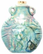 Peruvian Hand Crafted Ceramic Raku Glazed Bear Bottle Pendant, 49mm