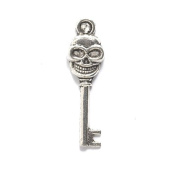 Shipwreck Beads Zinc Alloy Skeleton Key with Skull, 9 by 33mm, Silver, 60-Pack