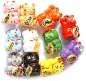 Peruvian 10 by 12mm Peruvian Hand Crafted Ceramic Mix Good Luck Kitty Beads , Assorted, 10 per Pack