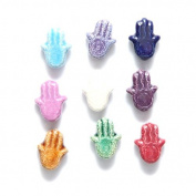Shipwreck Peruvian Hand Crafted Ceramic Hamsa Hand Bead Mix, 14mm, 10 Per Pack