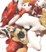 Peruvian 10 by 17mm Peruvian Hand Crafted Ceramic Koi Fish Beads , Mix, 10 per Pack
