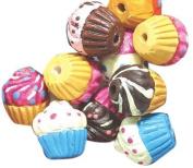 Peruvian 10mm Peruvian Hand Crafted Ceramic Cupcake Beads , Assorted, 10 per Pack