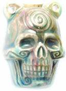 Shipwreck Beads Peruvian Hand Crafted Ceramic Raku Glazed Skull Pendant with Spiral Bottle, 39mm