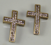Sideways Cross Rhinestone Bronze with Crystal 2pc 26mmx40mm