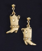 Gold Boot Earrings with Austrian Crystals