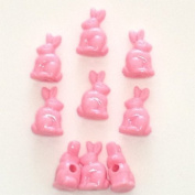 100 Pink Bunny Beads