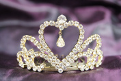 Beautiful Bridal Wedding Gold Tiara Crown in With Leaf Crystal Heart DH13522