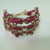 Golden Chinese RuYi Lock Faux Leather Bracelet