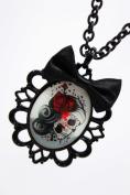 Gothic Skeleton Necklace with Black Satin Ribbon