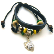 Shield Design Leather Bracelet with Colourful Beads