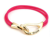 Alexa's Angels Be Brave Cancer Support Bracelets Gold-toned Pink Band