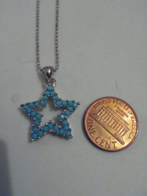 Silver and Turquoise. Crystal Star Necklace