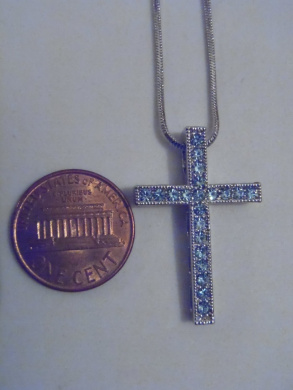 Silver and Blue. Crystal Cross Necklace