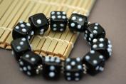Casino Theme Black Dice Design Handmade Lampwork Glass Stretch Bracelet