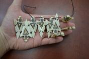 12 Pcs Tan Brown Strip Carved Bone Arrow Beads Pendants