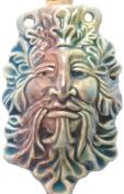 Peruvian Hand Crafted Ceramic Raku Glazed Green Man Bottle Pendant, 36 by 60mm