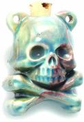 Shipwreck Beads Peruvian Hand Crafted Ceramic Raku Glazed Skull Crossbones Bottle Pendant, 39mm