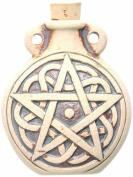 Peruvian Hand Crafted Ceramic High Fire Pentagram Bottle Pendant, 49mm