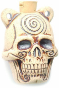 Shipwreck Beads Peruvian Hand Crafted Ceramic High Fire Skull Pendant with Spiral Bottle, 39mm