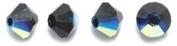 Preciosa 4-Mm Czech Crystal Diamond/Bicone Bead, Jet Aurora Borealis, 144-Piece