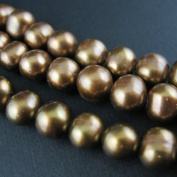 Freshwater Pearls Beads 7-8mm Round Olive Green Colour, B Grade