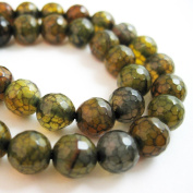Olive Green Crackle Agate Beads - Faceted Round 8mm