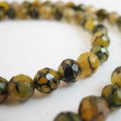 Olive Green Crackle Agate Beads - Dragon Vein - Faceted Round 6mm