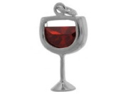 Sterling Silver and Cubic Zirconia Red Wine Charm