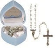 Rosarybeads4u Boy Blue Baby's First 1st Rosary Beads Glass Rosaries Pearl Effect