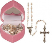 Girl Pink Baby's First 1st Rosary Beads Glass Rosaries Pearl Effect 6111
