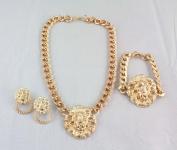 New Chunky Gold Plated Link Lion Head Choker Necklace Bracelet Earrings Set