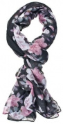 Ganz Black with Pink Roses Scarf